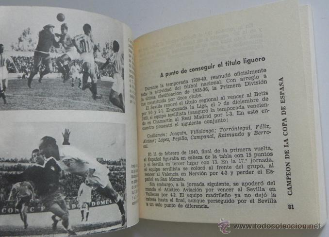 Coleccionismo deportivo: HISTORIA DEL SEVILLA C DE F - LIBRO SEVILLA FC FÚTBOL CLUB - DEPORTE FOTOS SFC - JR AGUILAR BRUGUERA - Foto 5 - 53651842