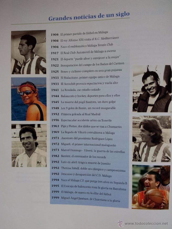 Coleccionismo deportivo: UN SIGLO DE DEPORTE EN MALAGA - MANUEL CASTILLO Y JUAN CORTES - PERIODICO EL SUR - ENCUADERNADO - Foto 2 - 53930451