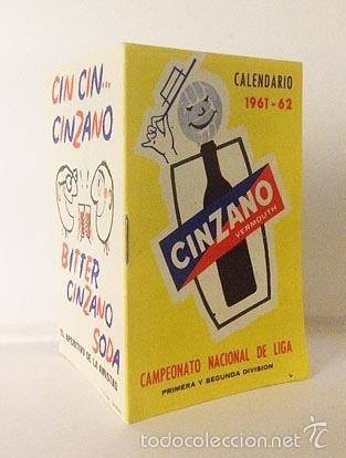 CALENDARIO FÚTBOL 1960 - 1961. PUBLICIDAD VERMOUTH CINZANO. SIN USAR (Coleccionismo Deportivo - Libros de Fútbol)