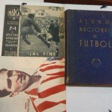 Coleccionismo deportivo: ÁLBUM NACIONAL DE FÚTBOL 1947 + EJEMPLAR DE MARCA DE 1942 + LÁMINA DE GÁRATE. Lote 60648955