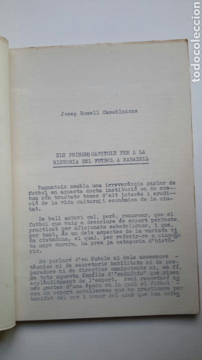 Coleccionismo deportivo: José Rosell. Els primers capítols per a la història del futbol a Sabadell. 1956. FBC - Foto 2 - 61681028