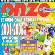 Coleccionismo deportivo - FÚTBOL. ONZE MONDIAL GUIDE 2001-2002 - 137407089