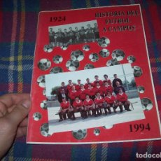 Coleccionismo deportivo: HISTÒRIA DEL FUTBOL A CAMPOS , 1924 - 1994 .ED. DEL MIGJORN. CLUB ESPORTIU CAMPOS. 1994. MALLORCA. Lote 63500712