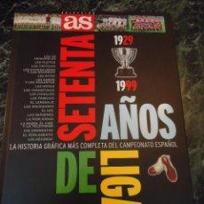 Coleccionismo deportivo: SETENTA AÑOS DE LIGA 1929-1999 LIBRO COMPLETO CON TODAS LAS PEGATINAS O CROMOS. Lote 70472297