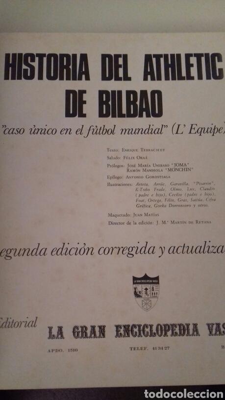 Coleccionismo deportivo: HISTORIA DEL ATHLETIC CLUB DE BILBAO 1969 Gran Enciclopedia Vasca Retama Editor Grandes del Futbol - Foto 2 - 85564135