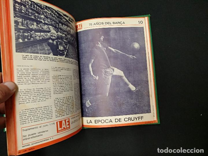Coleccionismo deportivo: 75 AÑOS DEL BARÇA - LAE - LA ACTUALIDAD ESPAÑOLA - COMPLETO 10 FASCICULOS ENCUADERNADOS - Foto 2 - 130313114