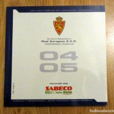 Coleccionismo deportivo: ANUARIO REAL ZARAGOZA 2004-05 FICHA DE LOS PARTIDOS PLANTILLAS CATEGORIAS INFERIORES. Lote 138730042