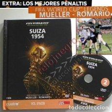 Coleccionismo deportivo: LIBRO DVD SUIZA 1954 FIFA WORLD CUP (ESPAÑOL) ROMARIO MUELLER MUNDIAL DE FÚTBOL MEJ PENALTIS DEPORTE. Lote 138796142