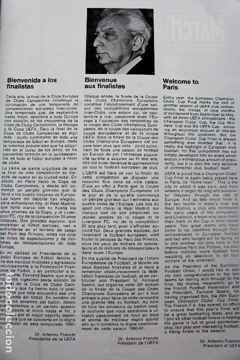 Coleccionismo deportivo: PO-27.PROGRAMA OFICIAL FINAL COPA DE EUROPA DE CLUBS 27 DE MAYO 1981. REAL MADRID . LIVERPOOL F.C. - Foto 3 - 141576114