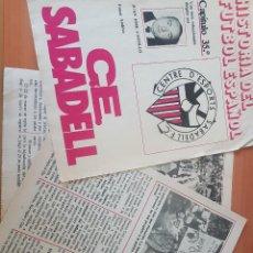 Coleccionismo deportivo: HISTORIA DEL FUTBOL ESPAÑOL RESTOS SABADELL, REAL SOCIEDAD CULTURAL. Lote 144230938