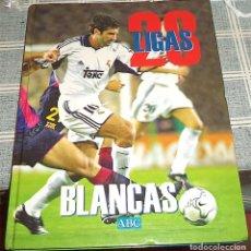 Coleccionismo deportivo: REAL MADRID FUTBOL 28 LIGAS BLANCAS 1930-2001 LIBRO/ALBUM CON 9 LAMINAS. Lote 147941478