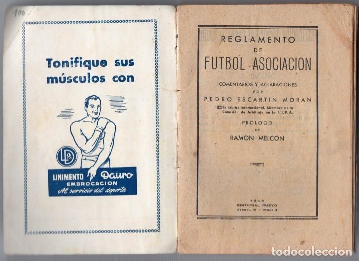 Coleccionismo deportivo: Reglamento de futbol comentado 1948, por pedro escartin - Foto 2 - 159938058