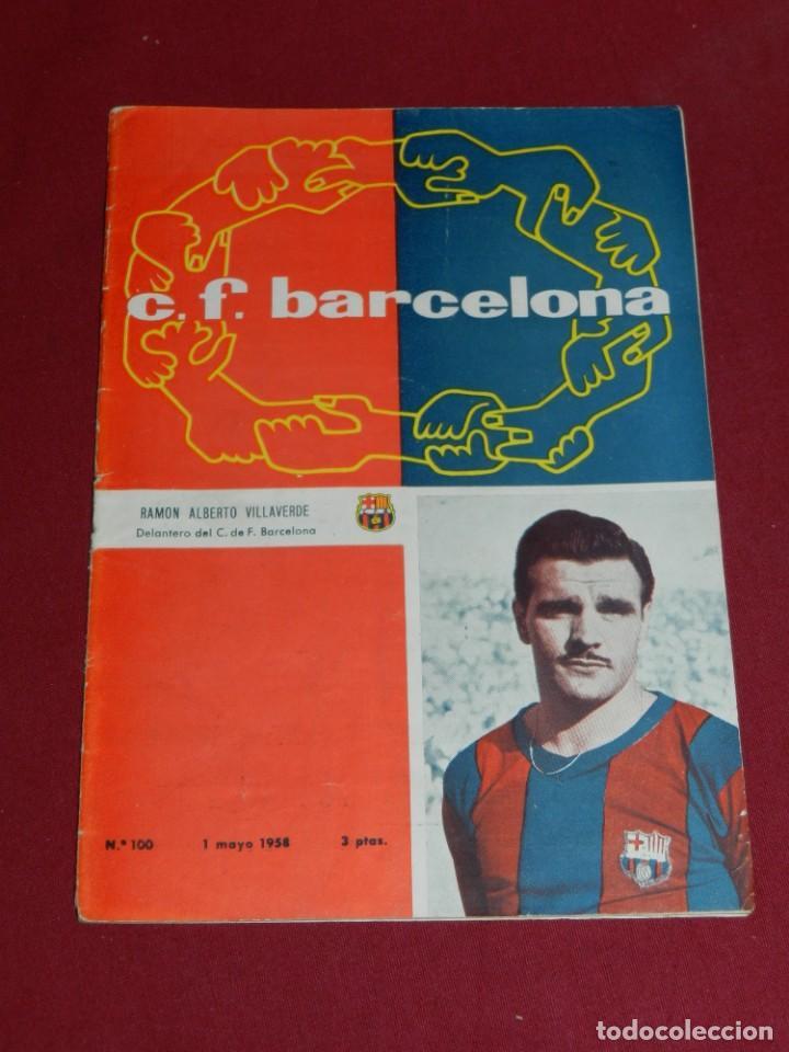 (M) PROGRAMA CF BARCELONA 1 MAYO 1958 N100 PARTIDO INTERNACIONAL CF BARCELONA - SELECCION DE LONDRES (Coleccionismo Deportivo - Libros de Fútbol)