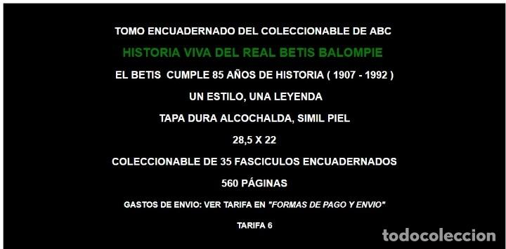Coleccionismo deportivo: ABC EKL HISTORIA VIVA DEL REAL BETIS BALOMPIE ( 1907 - 1993 ) ~ TOMO ENCUADERNADO FUTBOL - Foto 2 - 103209895