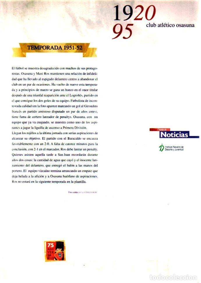 Coleccionismo deportivo: AT. OSASUNA 1920-95 COLECCIÓN INCOMPLETA LÁMINAS - Foto 2 - 182181786