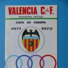 Coleccionismo deportivo: FUTBOL - PROGRAMA OFICIAL COPA DE EUROPA - 18 AGOSTO 1971, VALENCIA C.F.- U.S. LUXEMBURGO. Lote 193018690