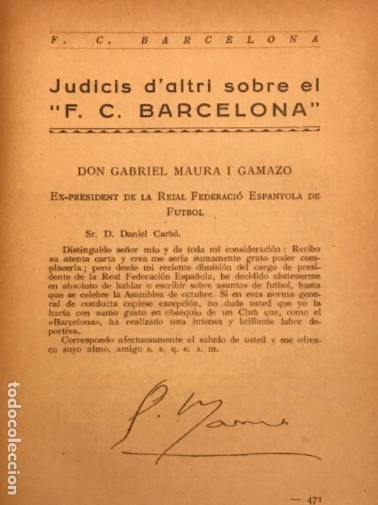 Coleccionismo deportivo: NOCES DARGENT DEL F.C. BARCELONA. 1899-1924. DANIEL CARBO I SANTAOLARIA. 2 VOLUMS. BARCELONA 1924. - Foto 6 - 195118325