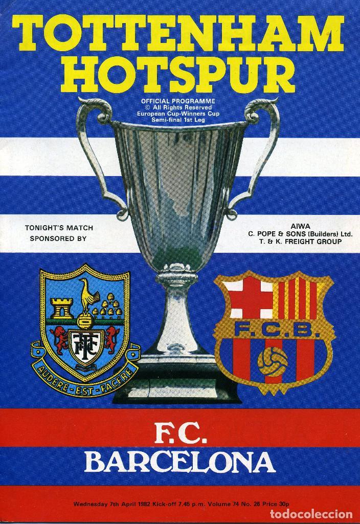 PROGRAMA RECOPA DE EUROPA 1982 TOTTENHAM HOTSPUR - BARCELONA (Coleccionismo Deportivo - Libros de Fútbol)