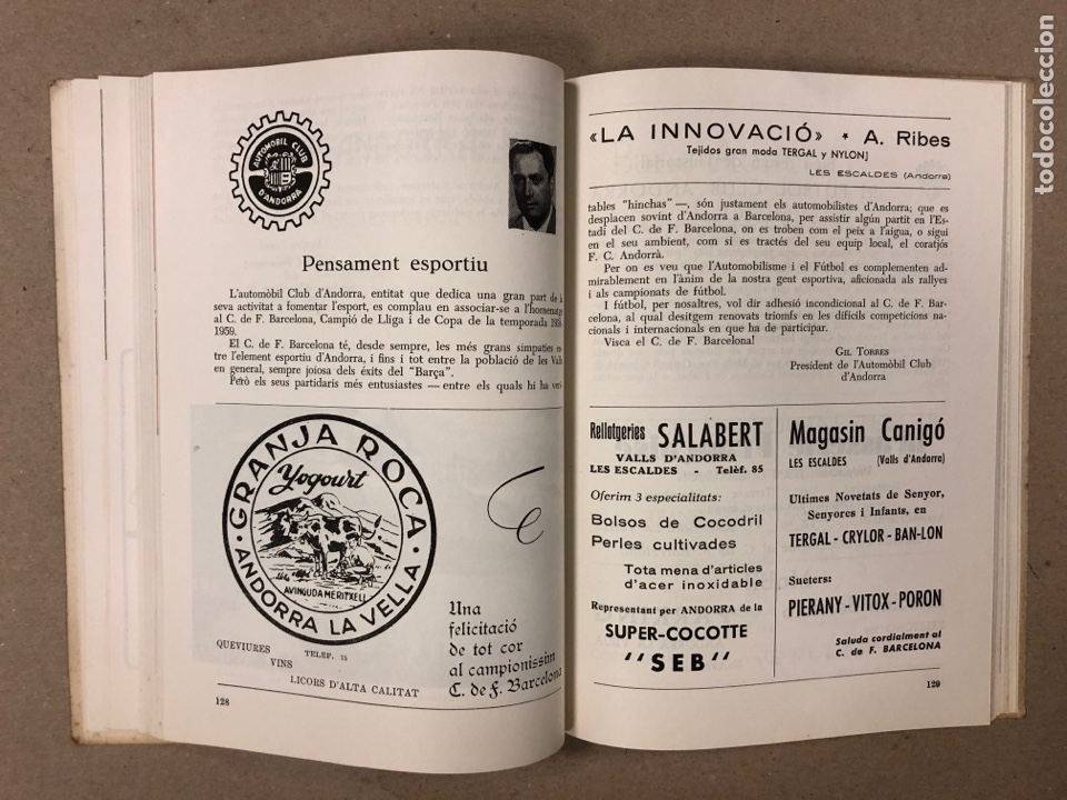 Coleccionismo deportivo: HOMENAJE DE CATALUÑA, ANDORRA Y PIRINEOS ORIENTALES AL CLUB DE FÚTBOL BARCELONA 1960. - Foto 8 - 195976205