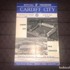Coleccionismo deportivo: PROGRAMA CUP WINNERS CUP RECOPA FÚTBOL CARDIFF REAL ZARAGOZA 1965 ... ZKR. Lote 199449040