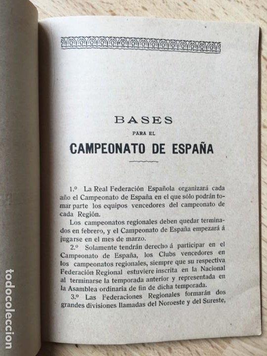 Coleccionismo deportivo: (M) LIBRO REAL FEDERACIÓN ESPAÑOLA DE FÚTBOL - ESTATUTOS Y REGLAMENTOS ESPECIALES, MADRID 1914 / 15 - Foto 3 - 200520070