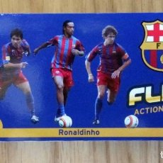 Coleccionismo deportivo: FLIPS ACTION IMAGES FORÇA Nº 1 RONALDINHO 1 BARÇA ETTO MESSI CAMPEON LIGA Y GOL AL REAL MADRID. Lote 213467555
