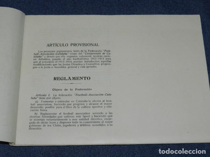 Coleccionismo deportivo: LIBRO REGLAMENTO DE LA FEDERACIÓN FOOTBALL ASOCIACIÓN CATALUÑA 1912 / 1913, MUY RARO - Foto 2 - 214433251