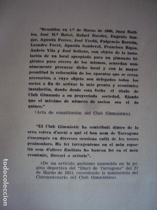 Coleccionismo deportivo: (LI-210302)Club gimnástico de Tarragona (1886-1961), de José Mª Recasens Comes. Ed. Tarragona, 1961 - Foto 6 - 245420550