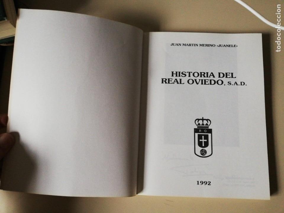 Coleccionismo deportivo: HISTORIA DEL REAL OVIEDO, S.A.D. - JUAN MARTÍN MERINO -JUANELE- 1992 - Foto 2 - 254253460
