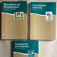 Coleccionismo deportivo: LOTE 3 LIBROS LA CAJA BOX, LA MUERTE Y EL HINCHA (G. REGUERA), MARADONA EN HUMAHUACA Y OTROS GOLES C. Lote 129246979