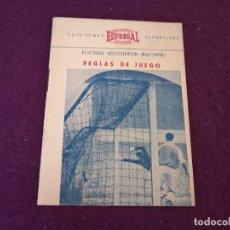 Collectionnisme sportif: 1955, REGLAS DE JUEGO BALOMPIÉ, EDFERSAL, EDICIONES DEPORTIVAS, P. ESCARTÍN, ILUSTRADO. Lote 287252703