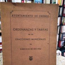 Libros: ORDENANZAS Y TARIFAS DE LAS EXACCIONES MUNICIPALES DEL EJERCICIO DE 1951-1952. Lote 207810098