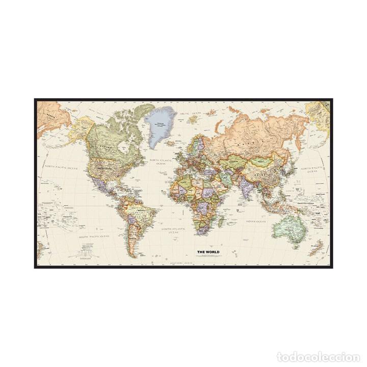 Libros: Mapamundi de Gran Tamaño 150x100cm. en tela MUY DETALLADO Estilo antiguo (color marrón) - Foto 2 - 243555535