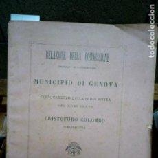 Libros: COLLOCAMENTO DELLA PRIMA PIETRA DEL MONUMENTO A CRISTOFORO COLOMBO EN BARCELLONA.. Lote 262900065