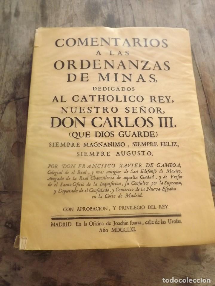 COMENTARIOS A LAS ORDENAZAS DE MINAS.GAMBOA (FACSIMIL) (Libros Nuevos - Ciencias, Manuales y Oficios - Geología)