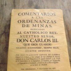 Libros: COMENTARIOS A LAS ORDENAZAS DE MINAS.GAMBOA (FACSIMIL). Lote 254498080