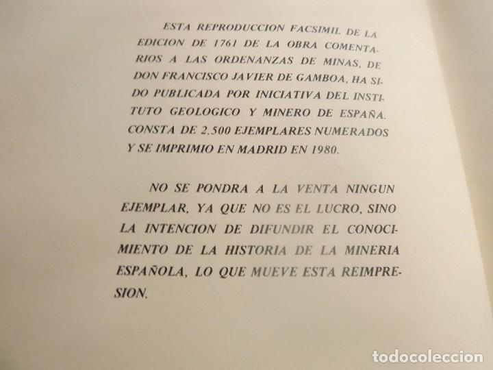 Libros: COMENTARIOS A LAS ORDENAZAS DE MINAS.GAMBOA (FACSIMIL) - Foto 3 - 254498080