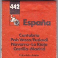 Libros: GUIA MICHELIN Nº 442 ESPAÑA CANTABRIA PAIS VASCO EUSKADI NAVARRA LA RIOJA ETC, 1994 F ADICI. Lote 238802245