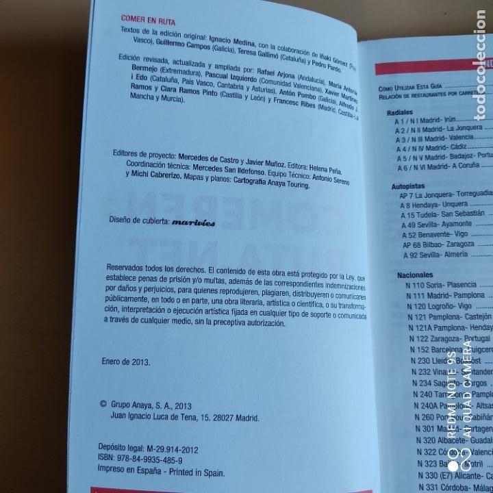 Libros: GUIAS Y MAPAS. COMER EN RUTA.NET. 2013. ANAYA TOURING. 431 PAGS. - Foto 2 - 259260515