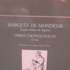Libros: 2002 MARQUEZ DE MONDEJAR GASPAR IBAÑEZ DE SEGOVIA OBRAS CRONOLOGICAS 1744. Lote 123720107