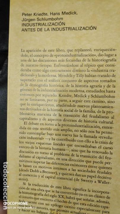 Libros: INDRUSTRIALIZACION ANTE DE LA INDUSTRIALIZACION ( PETER KRIEDTE, HANS MEDICK ) - Foto 3 - 219086272