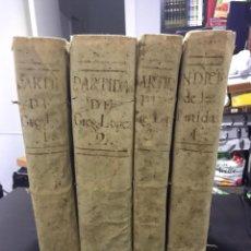 Libros: COLECCION 4 TOMOS DE LAS PARTIDAS DE ALFONSO X EL SABIO DEL SIGLO XVIII. Lote 198237473