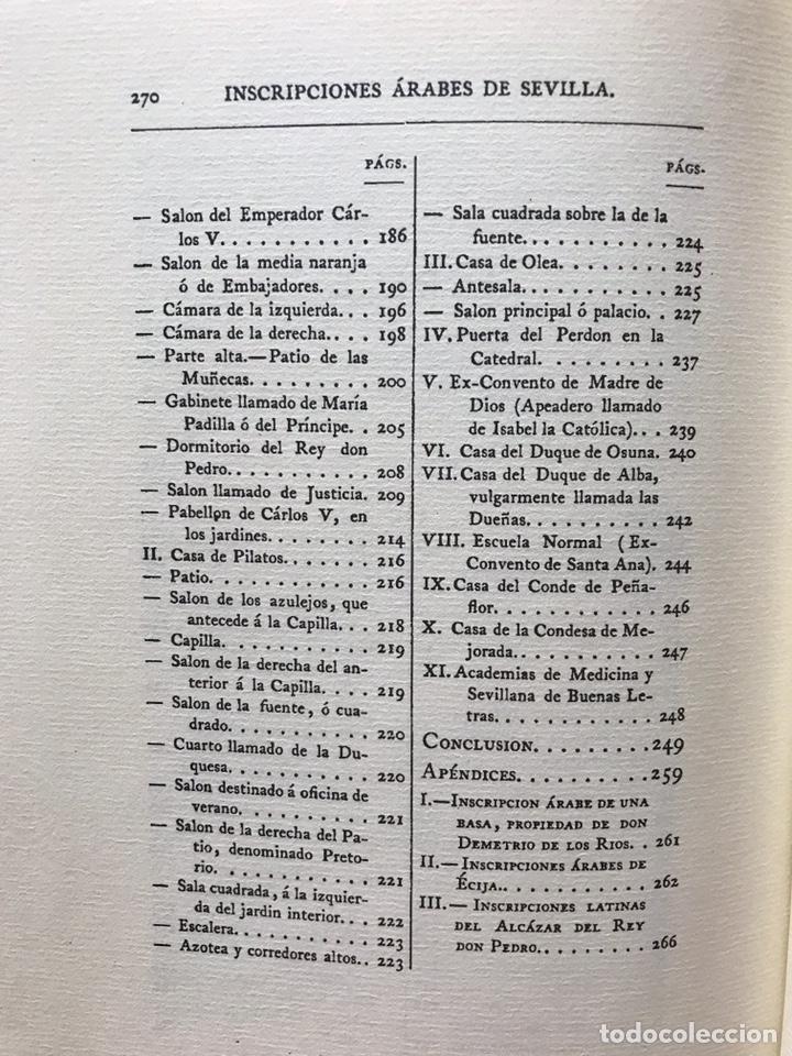Libros: INSCRIPCIONES ÁRABES DE SEVILLA. AMADOR DE LOS RÍOS. FACSÍMIL. PATRONATO REAL ALCÁZAR - Foto 3 - 214010645