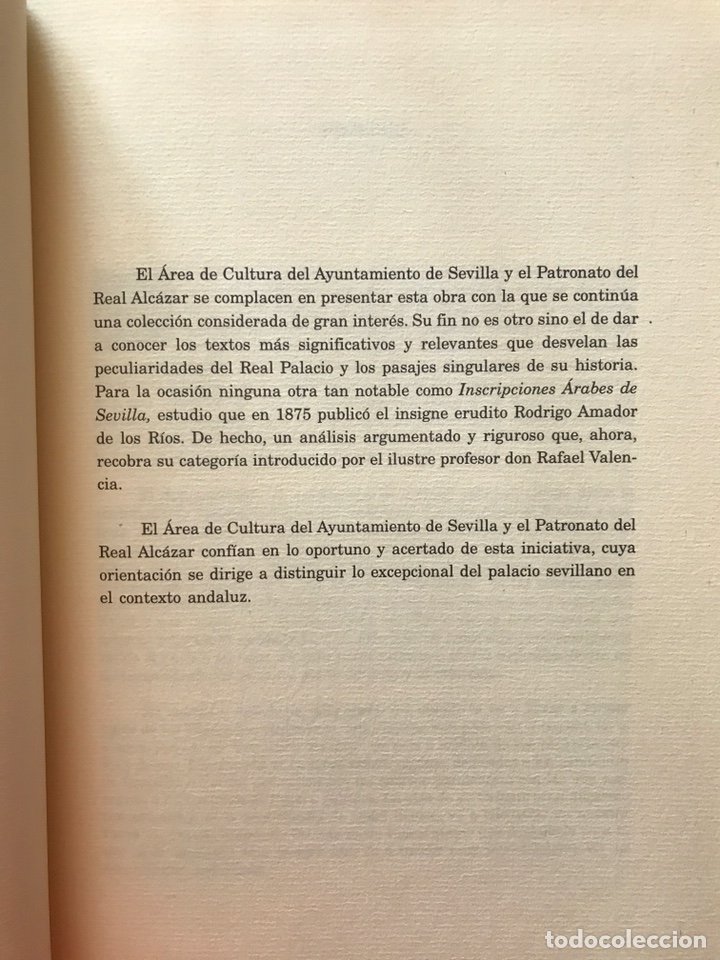 Libros: INSCRIPCIONES ÁRABES DE SEVILLA. AMADOR DE LOS RÍOS. FACSÍMIL. PATRONATO REAL ALCÁZAR - Foto 10 - 214010645