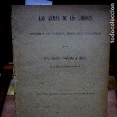 Libros: COTARELO I MORI EMILIO.LAS ARMAS DE LOS GIRONES.ESTUDIOS DE ANTIGUA HERALDICA ESPAÑOLA. Lote 254334180