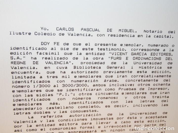 Libros: Antiguo libro le furs e ordinacions del regne de valencia (facsimil) Valencia - Foto 10 - 124034184