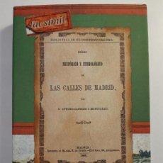 Libros: ORIGEN HISTÓRICO Y ETIMOLÓGICO DE LAS CALLES DE MADRID, DE ANTONIO DE CAPMANY. HISTORIA VILLA CORTE. Lote 261907330