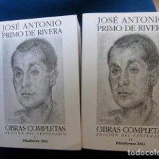 Libros: OBRAS COMPLETAS JOSE ANTONIO EDICION DEL CENTENARIO DOS VOLUMENES NUEVOS EXCELENTE POLITICA ESPAÑA. Lote 215328732