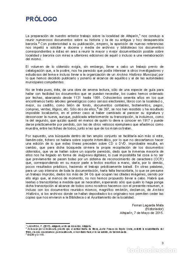 Libros: Documentos para el estudio de la historia de Alfajarín y su Baronía. - Foto 2 - 263064025
