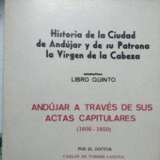 Livres: HISTORIA DE LA CIUDAD DE ANDÚJAR Y DE SU PATRONA LA VIRGEN DE LA CABEZA. ANDÚJAR A TRAVÉS DE SUS ACT. Lote 265730734